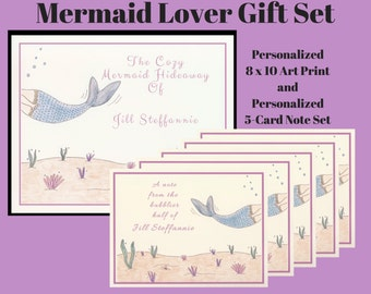 Gift Sets, Mermaid Gifts, Personalized Gift Sets, Personalized Mermaid, Mermaid Cards, Personalized Stationery, Personalized Gifts