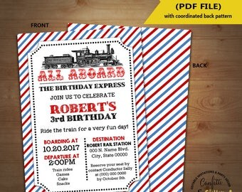Train Birthday Invitation Vintage Train invite all aboard train party Instant Download YOU EDIT TEXT and print yourself 5857