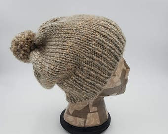 Slouchy Beanie, Hand Knit Beanie, Pom Pom Beanie, Beige Beanie, Grey Beanie, Winter Hat, Hat for Women, Hat for Men, Slouch Hat, Pom Pom Hat