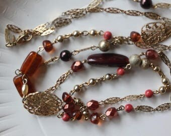 """Signed Avond filigree link multi color faux bead necklace 40 1/2"""""""