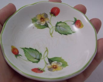 Strawberry plate vintage from England Old Foley James Kent Ltd small little dish for teabag or peanuts