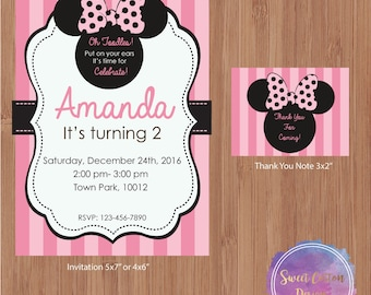 Minnie Mouse Birthday Party Invitation with Thank You Note