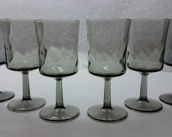 GRAY SWIRL WINE Glasses Vintage Set of 6 Circa 1960's - 1970's grey pillar goblet Barware