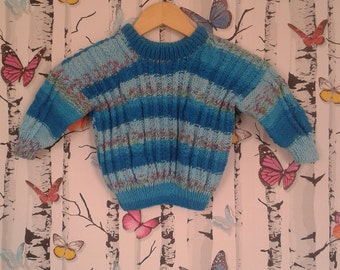 SALE Boys Jumper, Knitted Jumper, 2 - 3 Year Old, Handmade, Hand Knitted, Boys Gift