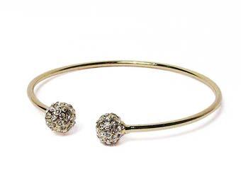 Clear Cz Crystal Balls Gold Filled Bangle Bracelet