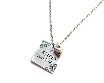 Personalized Hand Stamped Nana Necklace | grandma | birthday |  personalized | customized | aluminum metal stamped jewelry | jewellry