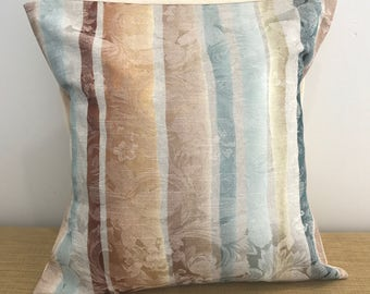 "Upholstery fabric with gold, blue, green & cream stripes cushion cover throw pillow. 18"" (45cm). Made Australia. Cushion Covers Australia"