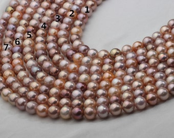 10-12mm Round Mixed Color Freshwater Pearl with Metallic Brown and Red tone,100% Genuine Pearl and Natural Color