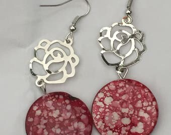 Red -rose dangle earrings