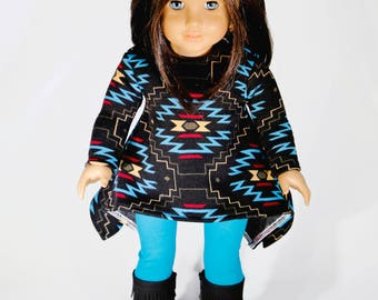 American made Girl Doll Clothes, 18 inch Girl Doll Clothing, Tribal Tunic Top with leggings made to fit like American Girl Doll Clothes