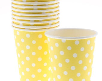 Cups   Polka Dot Yellow Paper Cups   Yellow with White Polka Dots   Premium Quality Paper Cups   Birthday Party   The Party Darling