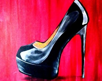 Stiletto hand painted acrylic on canvas