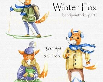 Winter, Fox Clipart, foxes clipart, cute fox clip art, cute fox, red fox, red fox clipart, watercolor clipart, new year