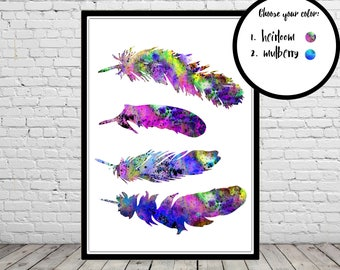 Feathers, watercolor feather,  Feather print, Room Decor, Poster, wall art, print(2247b)
