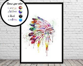Native American Headdress Indian Chief, watercolor art print,  home decor, Headdress, Indian Headdress  (2973b,1483b)
