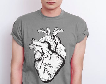 Anatomical heart tee | Realistic heart tshirt | Heart t-shirt | Valentine's day gift for him | Mens cotton t-shirt