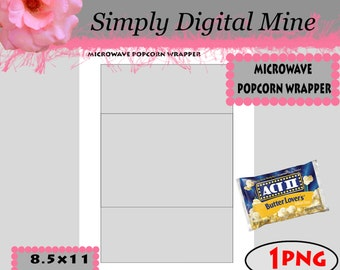 YOU Design!!! microwave popcorn wrapper Template !!