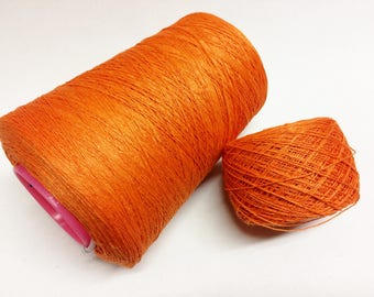 100g linen yarn 3ply linen thread orange