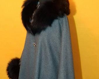 Wool Cape/ poncho with real fox fur trim