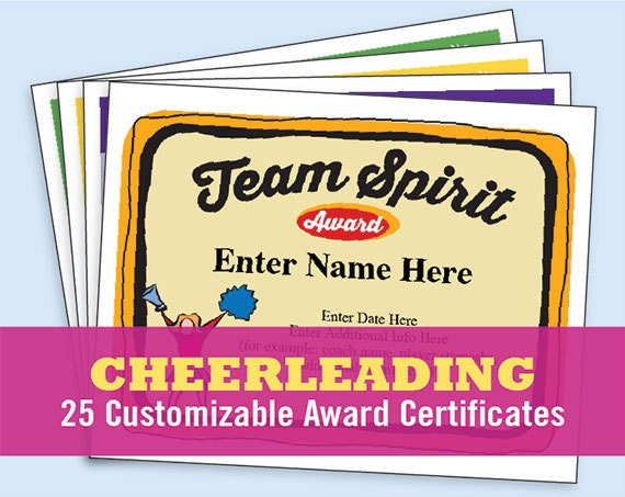 Cheerleading certificate cheerleader awards cheer team cheerleading certificate cheerleader awards cheer team printables child girls certificates coach gifts templates etsy top sellers yelopaper Image collections