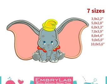 Applique Dumbo Baby Elephant. Machine Embroidery Applique Design. Instant Digital Download (16274)