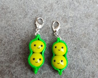Cute Polymer Clay Peas in a Pod Charm