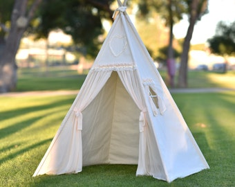 Cream Canvas Teepee Kids Teepee, Kids Play Tent, Childrens Play House, Tipi,Kids Room Decor