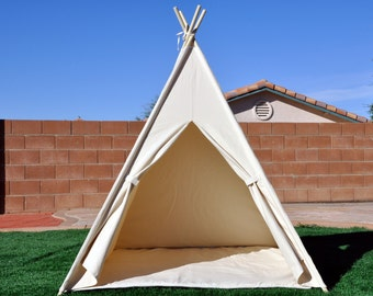 Natural Canvas Plain Kids Teepee, Kids Play Tent, Childrens Play House, Tipi,Kids Room Decor