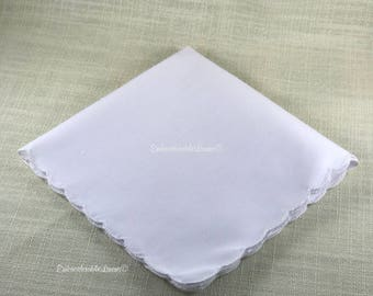 White Scalloped Edge Hem Vintage Handkerchief 12in x 12in Blank EmbroiderableLinens© *ONE DAY SALE*
