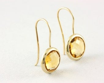 Citrine Earrings, Gemstone Earrings, Gold Gemstone Earrings, Gold Citrine Earrings, 14K Gold Earrings, November Birthstone,  GE0379