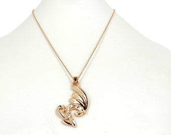 Pink golden necklace set pendant white crystal