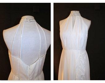White 70's Disco Glam halter neck maxi dress