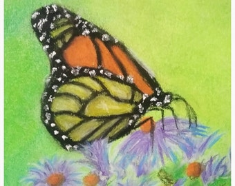 "14x11"",Butterly,Garden,Bug,Flying,Open Wings,Flower,Flowering,Flutter,Flowers,Orange,Green,Lime,Pink,Yellow,Pastel,Painting,Hand Painted,Art"