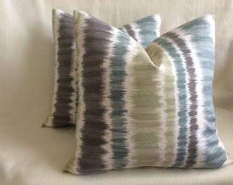 "Ikat Stripe Designer Pillow Cover Set - Braemore Textiles ""Merson"" Fabric - Blue Gray/ Charcoal/ Sage Green - 2pc Set - 18x18 Covers"
