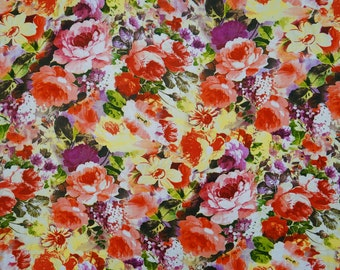 """Multicolor Flower Printed, Designer Fabric, Dress Material, Sewing Accessories, 40"""" Inch Rayon Fabric By The Yard ZBR536B"""