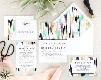 Modern Wedding Invitation with RSVP Cards - Boho Wedding Invitation Printed - Green Wedding Invites Set - Abstract Invitation - Set of 10
