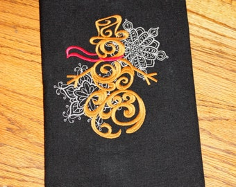 Baroque Noel Snowman Towel, Holiday Hand Towel, Christmas Kitchen Towel, Christmas Hand Towel, Snowman Towel, Snowman Embroidered Towel