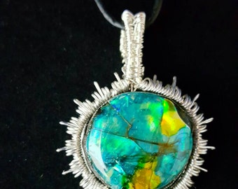Sun on Crater Lake Pendant Necklace Artisan Wearable Art Pendant Handcrafted Labradorite  Cabachon Handmade bezel  Necklace BH01869SCL