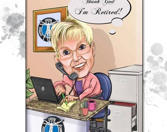Custom Caricature - 1 person - Personalized gift idea for Mother's day, retirement or birthday