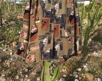 1970s vintage blouse//printed blouse//blouse vintage anni ' 70//Earth colors