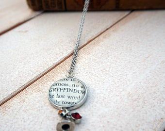 Harry Potter Sorting Hat Gryffindor Necklace   Book Page Necklace   JK Rowling Necklace   Harry Potter Sorcerer's Stone Necklace