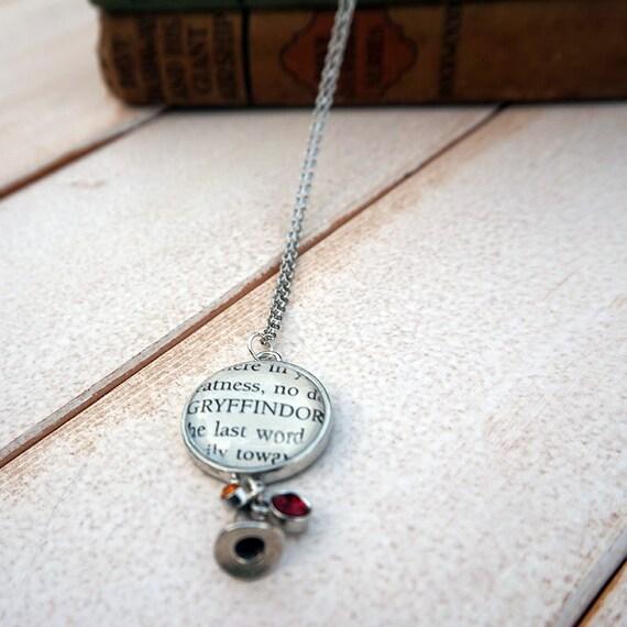 Harry Potter Sorting Hat Gryffindor Necklace | Book Page Necklace | JK Rowling Necklace | Harry Potter Sorcerer's Stone Necklace