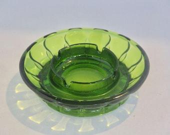 SALE! Vintage Green Glass Ashtray