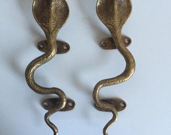 Gold Brass Cobra Cabinet Pulls/Door Handles - a Pair