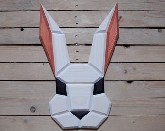 wooden rabbit wall decor