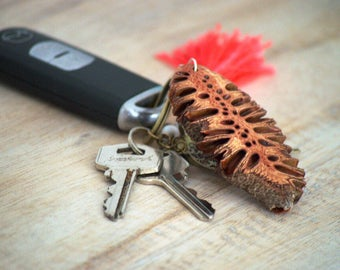 Wood keychain - wooden keychain, australian gifts, key ring, australian made, wood keyring, unique gifts, gift for her, banksia, australian