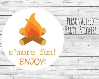 S'more Mix Stickers, Camping Theme, Camping Favors, Campfire Labels, Camping Birthday, Party Favors, S'more Mix Labels, Party