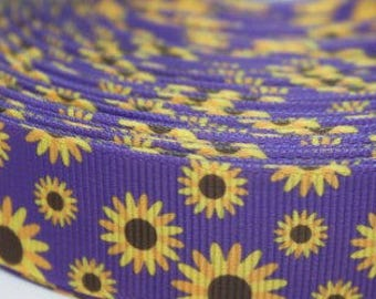 """Sunflower Design Dog Collar - Choose Side Release Buckle or Martingale  (1"""" Width) - Martingale Option Available"""