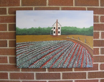 Cotton Painting Cotton Field Farmhouse Dirt Road Red Clay Country Landscape