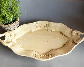 French Vintage Serving Platter. Vintage Cake Platter.  Vintage Fruit Platter. Cream Decorative Plate. Rustic Decorative Platter. ANNIVERSARY
